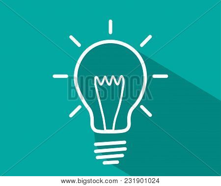 Icon Of An Electric Bulb. Simple Vector Illustration. The White Light Bulb On A Bright Background.