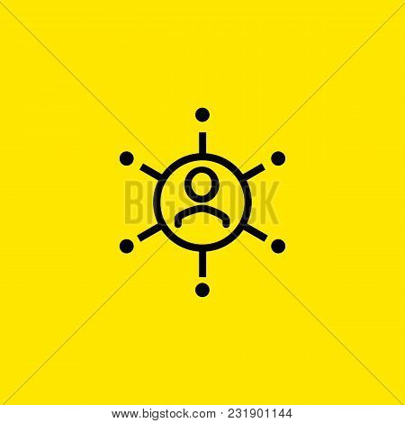 Icon Of Man With Connection Links. Company, Connection, Department. Business Relationship Concept. C