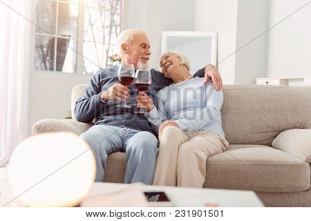 I Love You. Lovely Elderly Couple Cuddling On The Couch And Making A Toast To Love While Exchanging