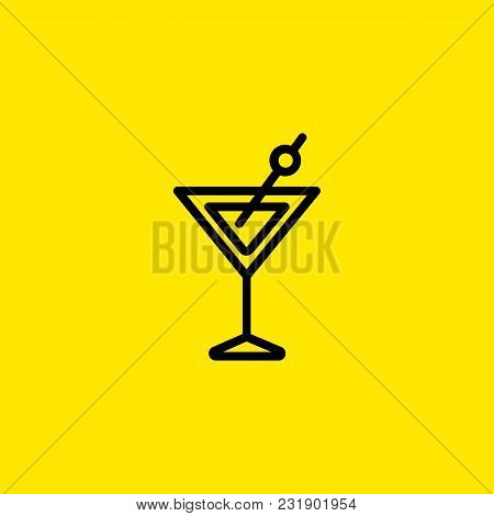 Icon Of Martini Glass. Vermouth, Alcohol, Olive. Cocktail And Celebration Concept. Can Be Used For T