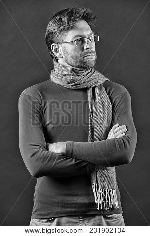 Eyesight Correction, Eye Care, Health. Businessman In Glasses On Bearded Face. Man In Scarf, Sweater