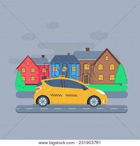 Poster With The Machine Yellow Cab In The City. Public Taxi Service Concept. Cityscape On The Backgr