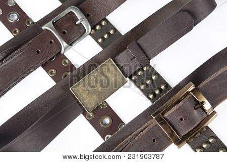 The Brown Leather Belt On White Background