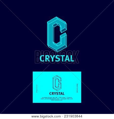 C Letter. Crystal Logo. C Monogram.  Letter C As A Transparent Crystal. Business Card. Logo Or Icon