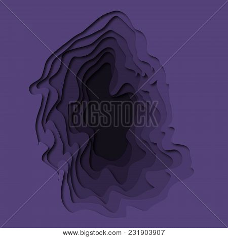 Paper Art Cartoon Abstract Waves In Realistic Trendy Craft Style. Abstract Geometry Layered  Illustr