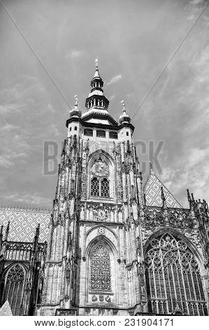 St. Vitus Cathedral In Prague, Czech Republic Famoust Historical Building, Against Blue Sky