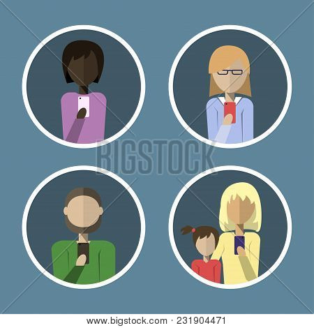 Avatars Of People Calling On The Phone In A Flat Style. Vector Illustration.