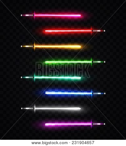 Neon Light Swords Set. Colorful Glowing Sabers Collection Isolated On Transparent Background. Lumino