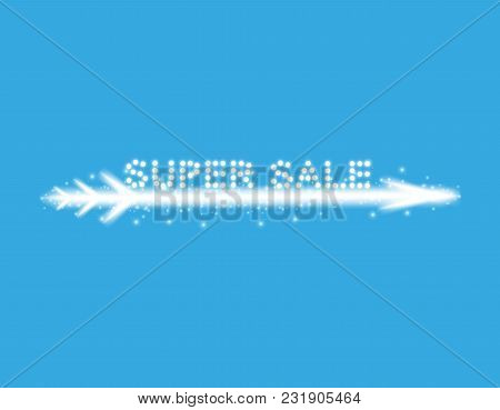 Vector Illustration With Glowing Text Sale With Arrow On The Blue Backgraund.