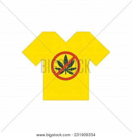 Yellow T-shirt. No Drugs Allowed. Marijuana Leaf With Forbidden Sign - No Drug. Drugs Icon In Prohib
