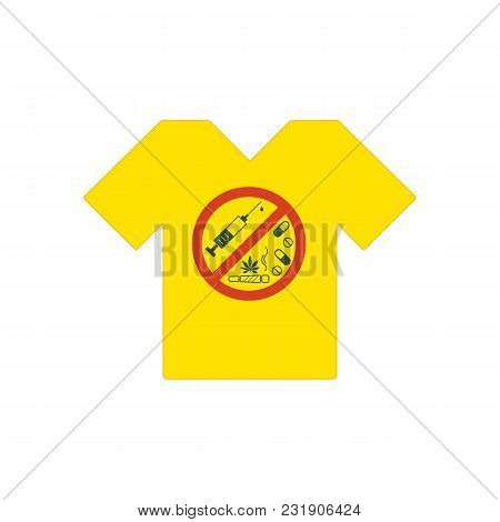 Yellow Tee Shirt. No Drugs Allowed. Drugs, Marijuana Leaf With Forbidden Sign - No Drug. Drugs Icon