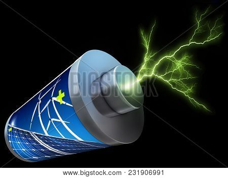 3d Rendering Of A Battery With A Green Thunderbolt