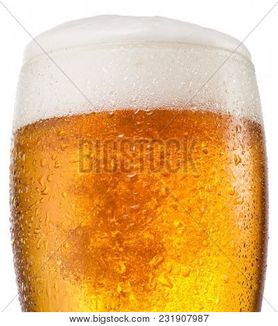 Steamy beer glass on the white background.