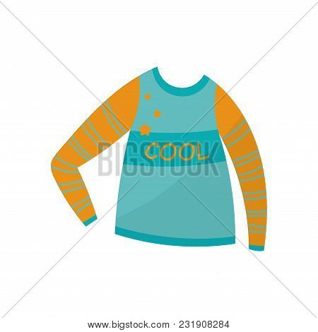Blue Long Sleeve, Boys Wear Vector Illustration Isolated On A White Background.