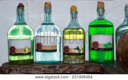 Ukrainian Russian Home Made Moonshine Vodka Spirit On Country Kitchen