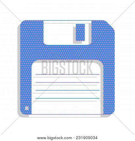 Floppy Disk Sign. Vector. Neon Blue Icon With Cyclamen Polka Dots Pattern With Light Gray Shadow On