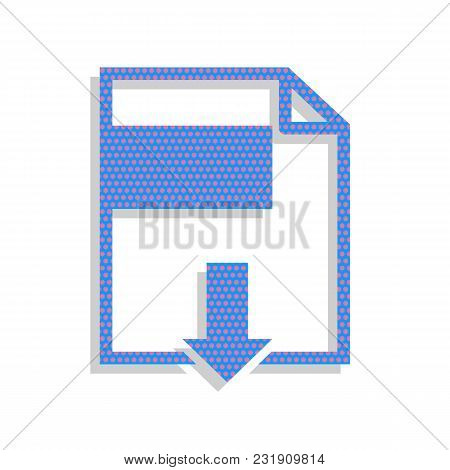 File Download Sign. Vector. Neon Blue Icon With Cyclamen Polka Dots Pattern With Light Gray Shadow O