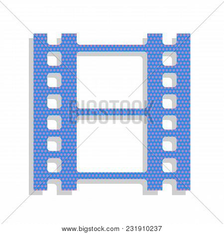 Reel Of Film Sign. Vector. Neon Blue Icon With Cyclamen Polka Dots Pattern With Light Gray Shadow On