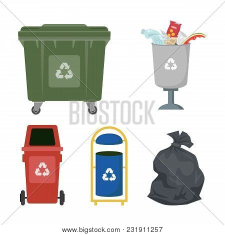 Garbage Cans On White Background. Ecology And Recycle Concept. Vector Illustration.