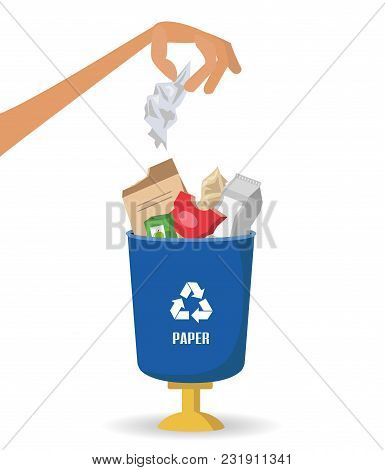 Man Throws Garbage Into A Paper Container On White Background. Ecology And Recycle Concept. Vector I