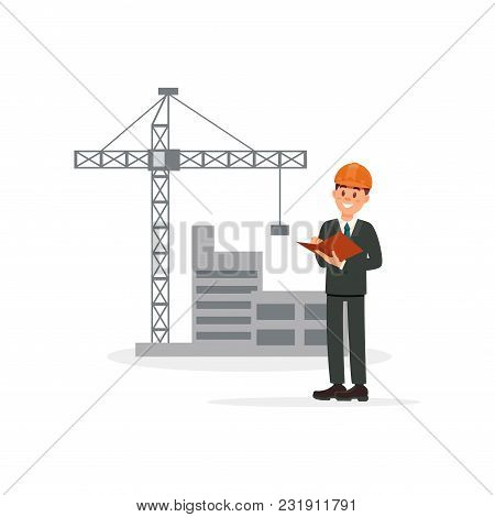 Engineer, Architect Or Foreman On Background Of Building Construction Vector Illustration Isolated O