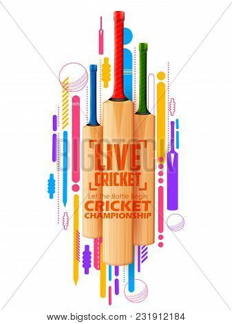 Illustration Of Cricket Bat On Sports Background