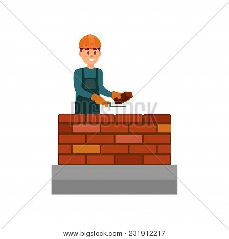 Construction Worker Bricklayer Making A Brickwork With Trowel And Cement Mortar Vector Illustration