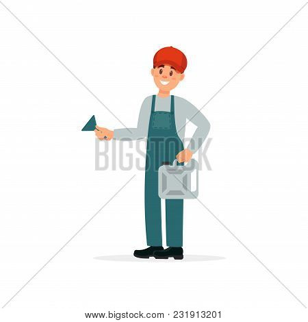 Professional Auto Mechanic Character In Uniform Vector Illustration Isolated On A White Background.