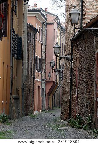 Narrow Medieval Street In The Center Of Ferrara, Italy
