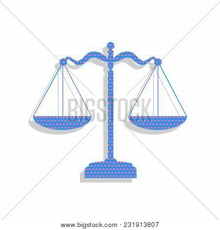 Scales Balance Sign. Vector. Neon Blue Icon With Cyclamen Polka Dots Pattern With Light Gray Shadow