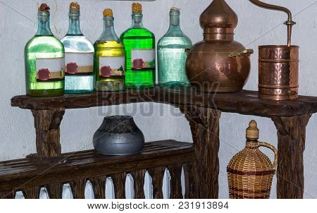 Ukrainian Russian Home Made Moonshine Vodka Spirit On Village Kitchen