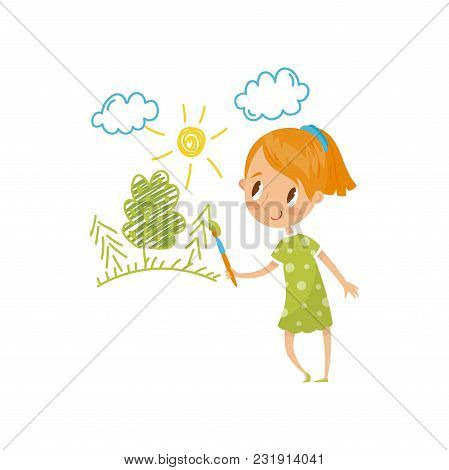 Sweet Little Girl Painting Nature With Color Paints And Brush On The Wall, Young Artist, Kids Activi