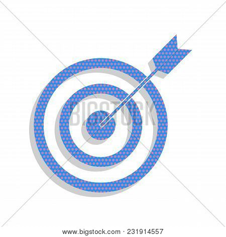 Target With Dart. Vector. Neon Blue Icon With Cyclamen Polka Dots Pattern With Light Gray Shadow On
