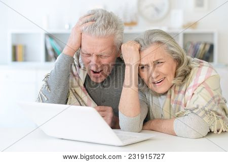 Portrait Of Happy Beautiful Senior Couple With Blanket Using Laptop At Home