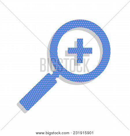 Zoom Sign Illustration. Vector. Neon Blue Icon With Cyclamen Polka Dots Pattern With Light Gray Shad