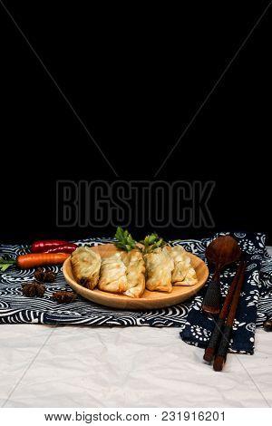 Chinese food Fried dumplings on plate