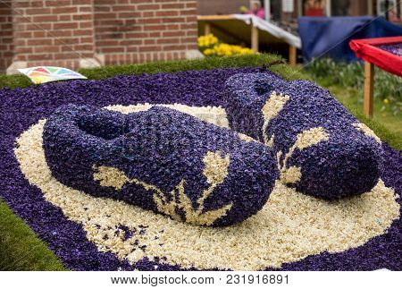 Noordwijkerhout, Netherlands - April 23,  2017: Traditional Clogs Made Of Hyacinths At The Tradition