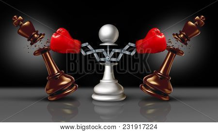 Knocking Out Competition Business Concept Or Knock And Punch Symbol As A Secret Weapon With A Chess