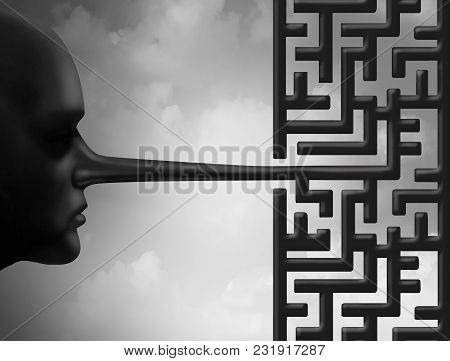 Investigate Fraud And Investigating Corruption Concept As A Liar With A Long Nose Shaped As A Maze O