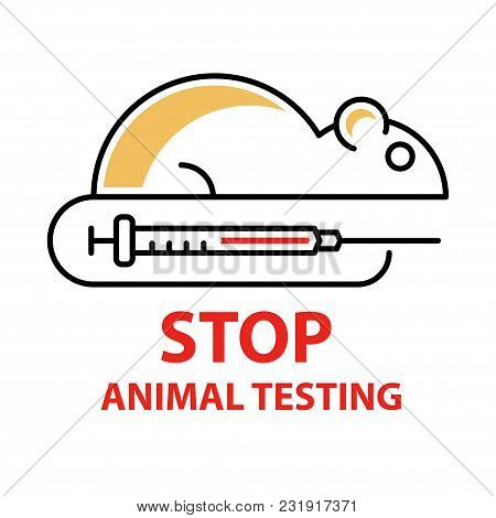 Stop Animal Testing Logo Template In Linear Style. Medicine Mouse For Testing. Vector Illustration
