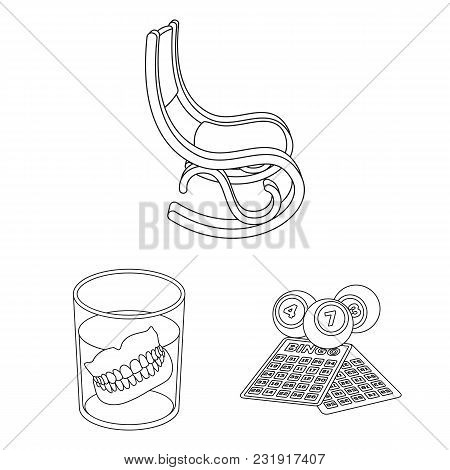 Human Old Age Outline Icons In Set Collection For Design. Pensioner, Period Of Life Vector Symbol St