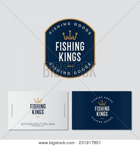 Fishing Logo. Fishing Or Fishing Equipment Store Logo. Fisher Club Emblem. Fishing Sport Club. Hooks