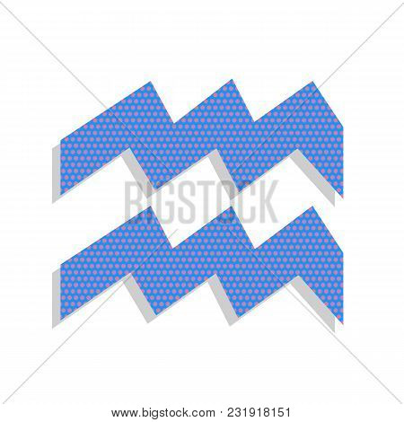 Aquarius Sign Illustration. Vector. Neon Blue Icon With Cyclamen Polka Dots Pattern With Light Gray