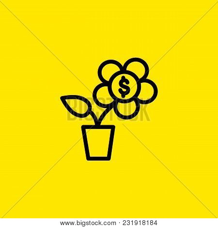 Icon Of Money Tree. Potted Plant, Flower, Dollar. Financial Wellbeing Concept. Can Be Used For Topic