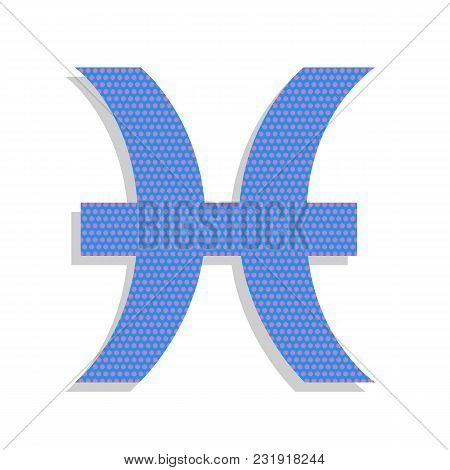 Pisces Sign Illustration. Vector. Neon Blue Icon With Cyclamen Polka Dots Pattern With Light Gray Sh