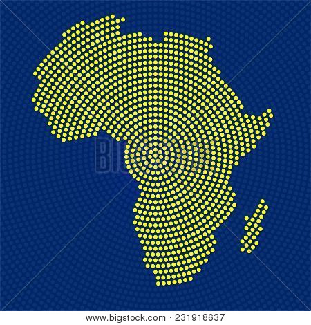 Abstract Africa Map Of Radial Dots. Vector Illustration, Eps 10