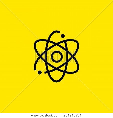 Icon Of Nuclear Power. Atom, Molecule, Model. Energy Industry Concept. Can Be Used For Topics Like I
