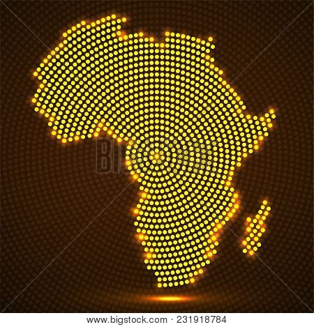 Abstract Africa Map Of Glowing Radial Dots. Vector Illustration, Eps 10