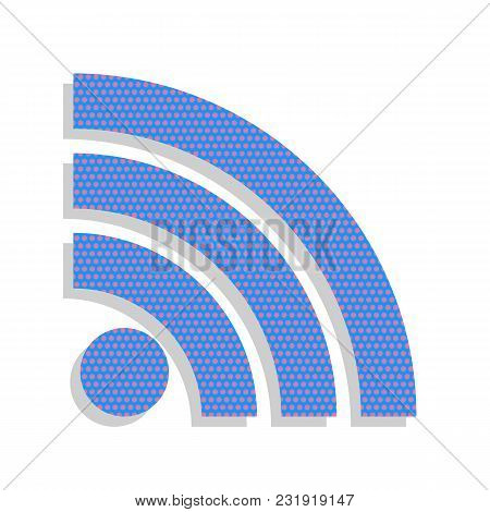 Rss Sign Illustration. Vector. Neon Blue Icon With Cyclamen Polka Dots Pattern With Light Gray Shado