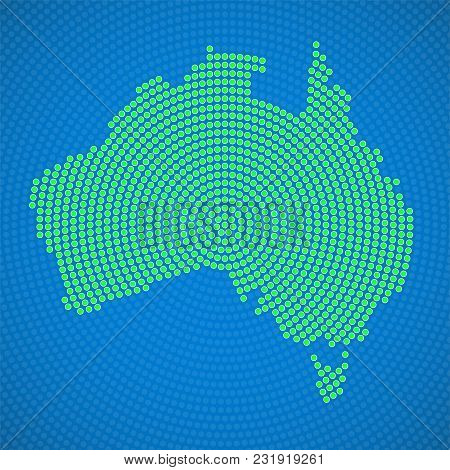 Abstract Australia Map Of Radial Dots. Vector Illustration, Eps 10
